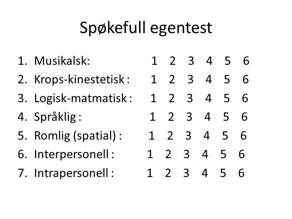 Spøkefull egentest 1.Musikalsk: 1 2 3 4 5 6 2.Krops-kinestetisk : 1 2 3 4 5 6 3.Logisk-matmatisk : 1 2 3 4 5 6 4.Språklig : 1 2 3 4 5 6 5.Romlig (spatial) : 1 2 3 4 5 6 6.Interpersonell : 1 2 3 4 5 6 7.Intrapersonell : 1 2 3 4 5 6