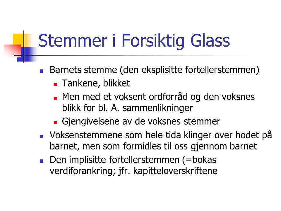 Stemmer i Forsiktig Glass Barnets stemme (den eksplisitte fortellerstemmen) Tankene, blikket Men med et voksent ordforråd og den voksnes blikk for bl.