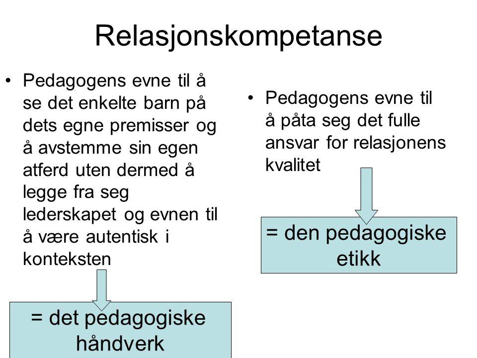 Kvalitet i relasjoner Pedagogen må ta ansvar –ATMOSFÆREN –RELASJONENS KVALITET Aldri overlates til barna