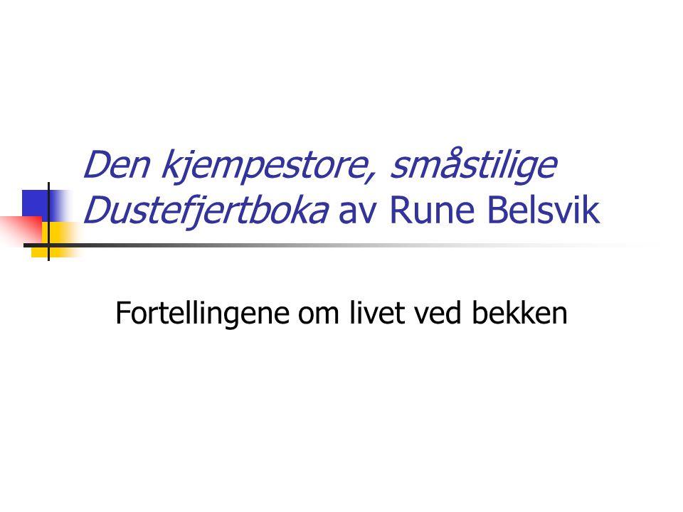 Den kjempestore, småstilige Dustefjertboka av Rune Belsvik Fortellingene om livet ved bekken