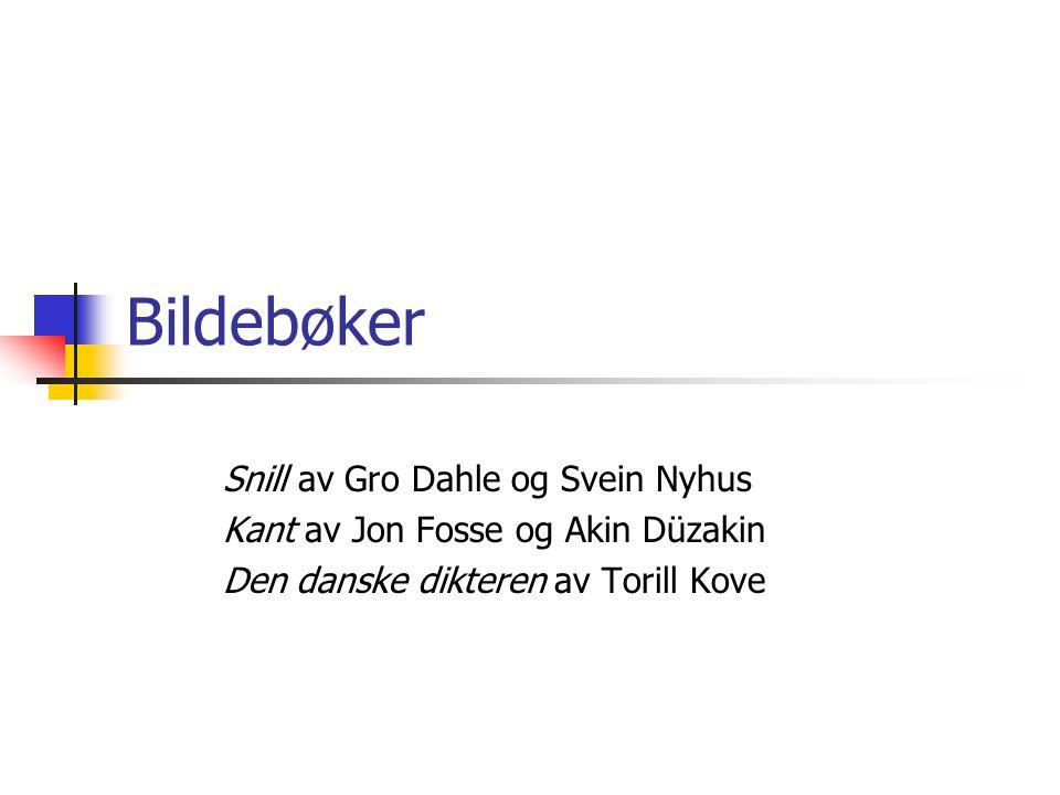 Bildebøker Snill av Gro Dahle og Svein Nyhus Kant av Jon Fosse og Akin Düzakin Den danske dikteren av Torill Kove