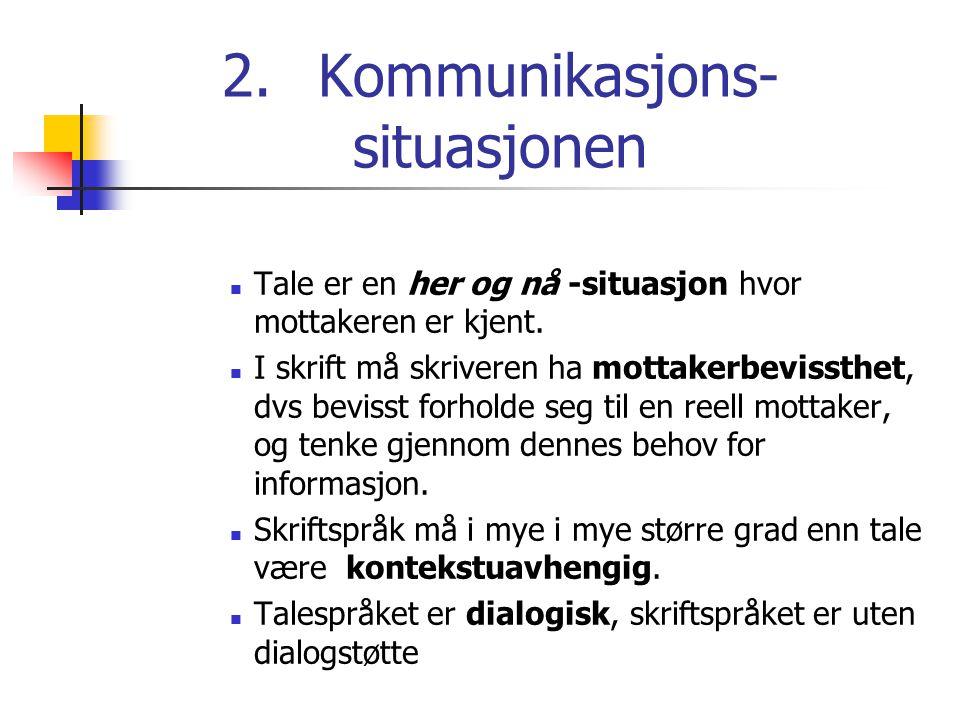 2.Kommunikasjons- situasjonen Tale er en her og nå -situasjon hvor mottakeren er kjent. I skrift må skriveren ha mottakerbevissthet, dvs bevisst forho