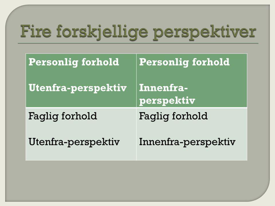 Personlig forhold Utenfra-perspektiv Personlig forhold Innenfra- perspektiv Faglig forhold Utenfra-perspektiv Faglig forhold Innenfra-perspektiv