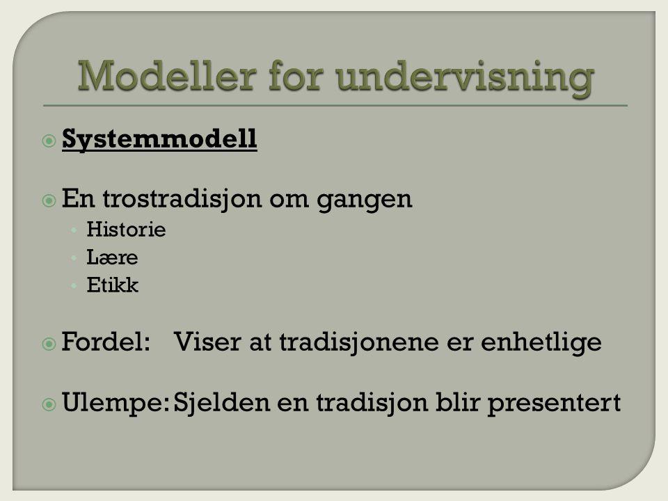  Systemmodell  En trostradisjon om gangen Historie Lære Etikk  Fordel:Viser at tradisjonene er enhetlige  Ulempe:Sjelden en tradisjon blir presentert