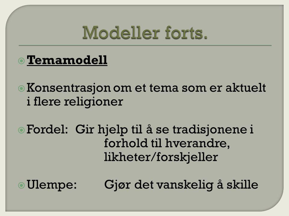  Temamodell  Konsentrasjon om et tema som er aktuelt i flere religioner  Fordel:Gir hjelp til å se tradisjonene i forhold til hverandre, likheter/forskjeller  Ulempe:Gjør det vanskelig å skille