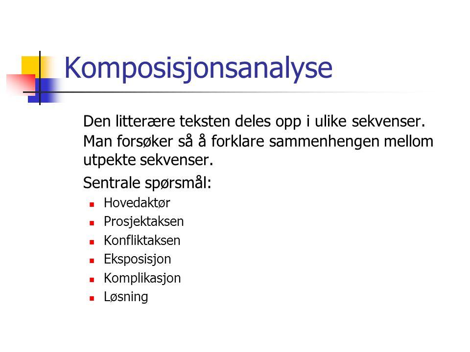 Komposisjonsanalyse Den litterære teksten deles opp i ulike sekvenser.