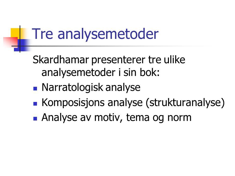 Tre analysemetoder Skardhamar presenterer tre ulike analysemetoder i sin bok: Narratologisk analyse Komposisjons analyse (strukturanalyse) Analyse av motiv, tema og norm