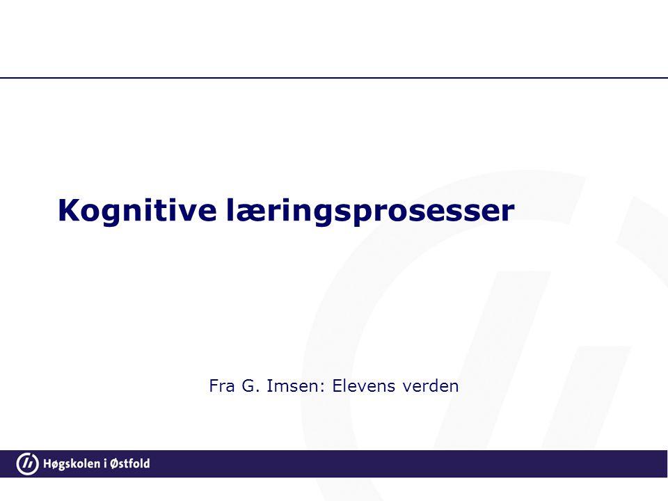 Kognitive læringsprosesser Fra G. Imsen: Elevens verden