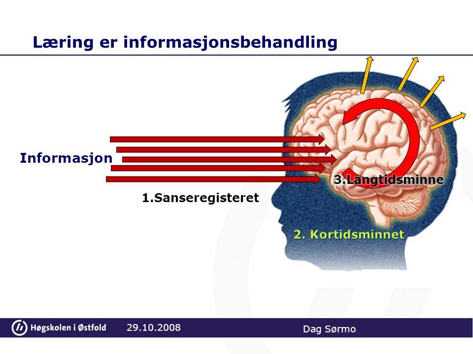 Læring er informasjonsbehandling 29.10.2008 Dag Sørmo Informasjon 1.Sanseregisteret