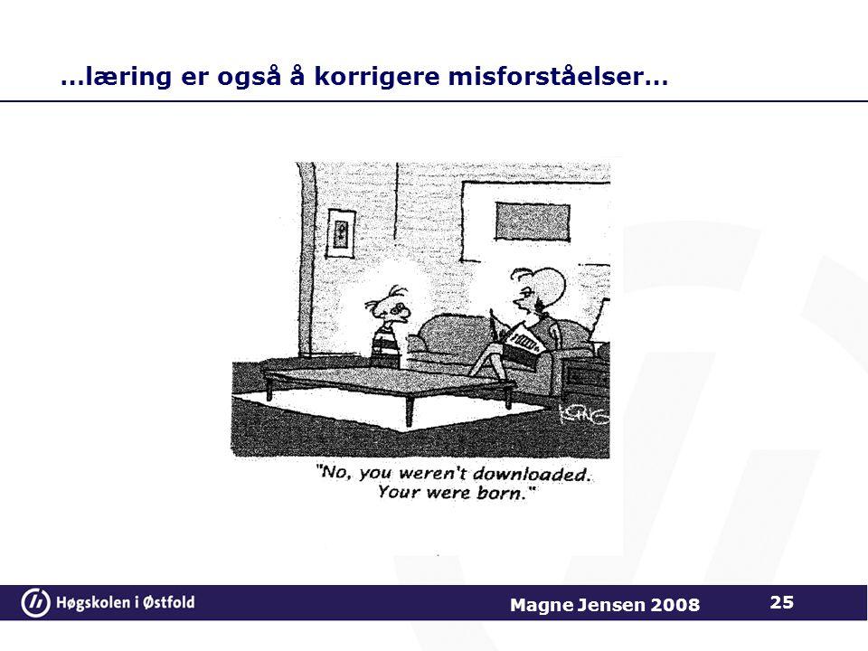 …læring er også å korrigere misforståelser… 25 Magne Jensen 2008