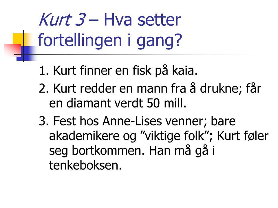 Kurt 3 – Hva setter fortellingen i gang? 1. Kurt finner en fisk på kaia. 2. Kurt redder en mann fra å drukne; får en diamant verdt 50 mill. 3. Fest ho