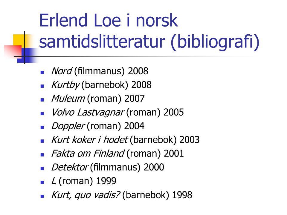 Erlend Loe i norsk samtidslitteratur (bibliografi) Nord (filmmanus) 2008 Kurtby (barnebok) 2008 Muleum (roman) 2007 Volvo Lastvagnar (roman) 2005 Dopp