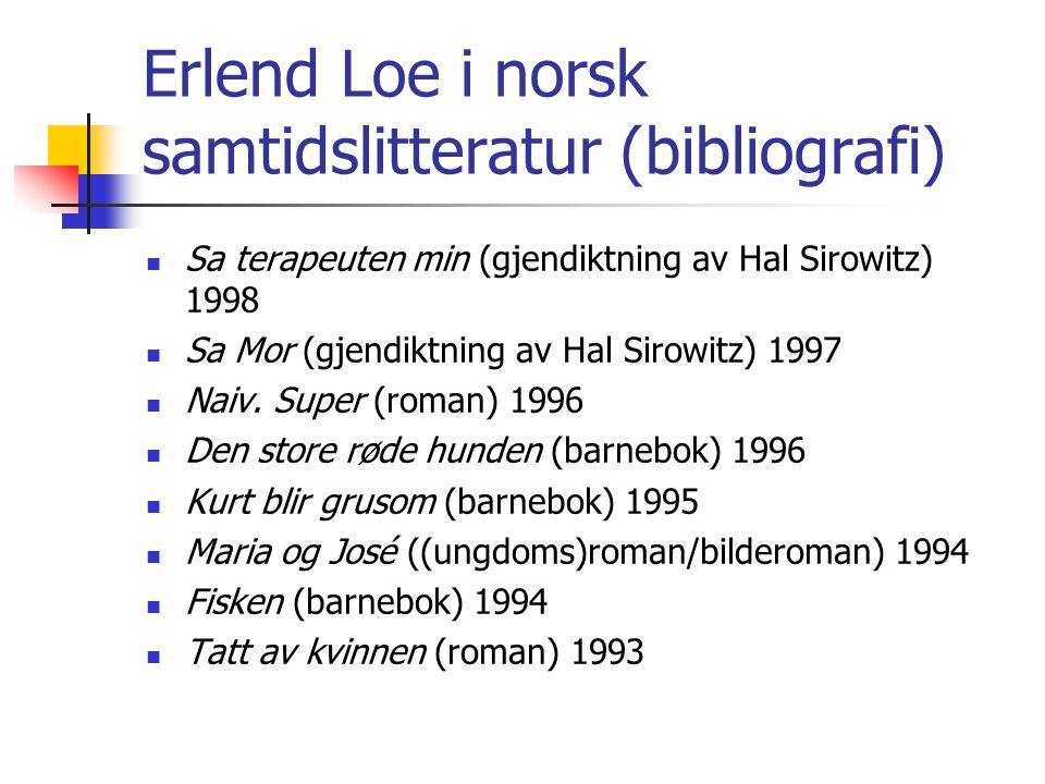 Erlend Loe i norsk samtidslitteratur (bibliografi) Sa terapeuten min (gjendiktning av Hal Sirowitz) 1998 Sa Mor (gjendiktning av Hal Sirowitz) 1997 Na