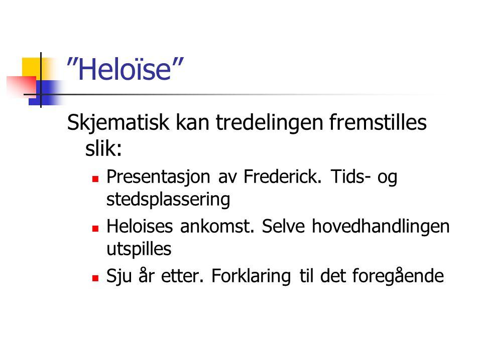"""""""Heloïse"""" Skjematisk kan tredelingen fremstilles slik: Presentasjon av Frederick. Tids- og stedsplassering Heloises ankomst. Selve hovedhandlingen uts"""
