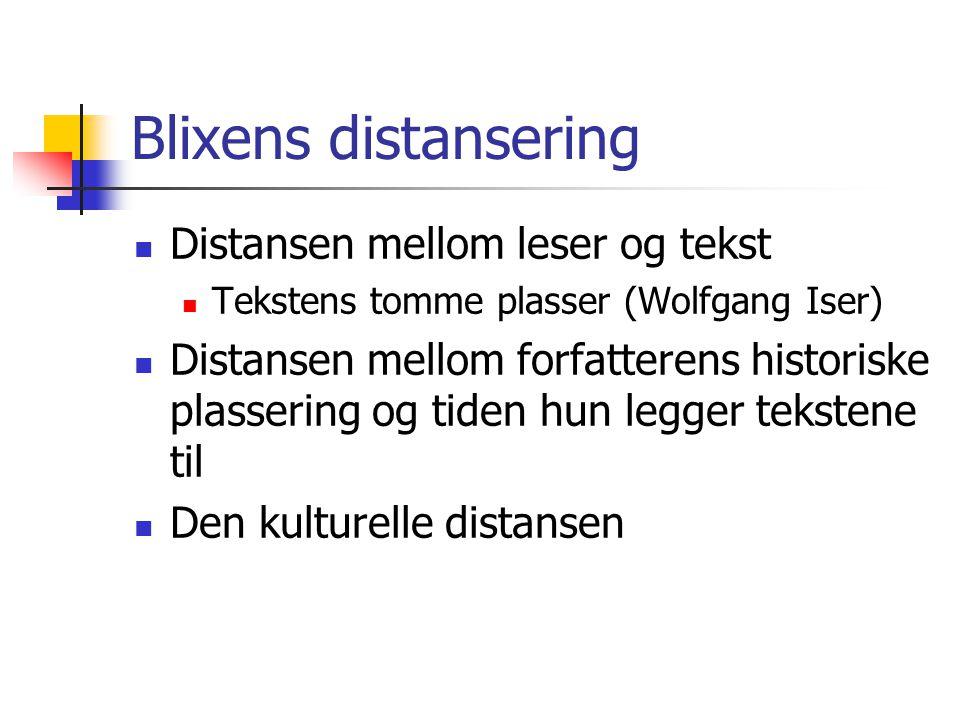 Blixens distansering Distansen mellom leser og tekst Tekstens tomme plasser (Wolfgang Iser) Distansen mellom forfatterens historiske plassering og tid
