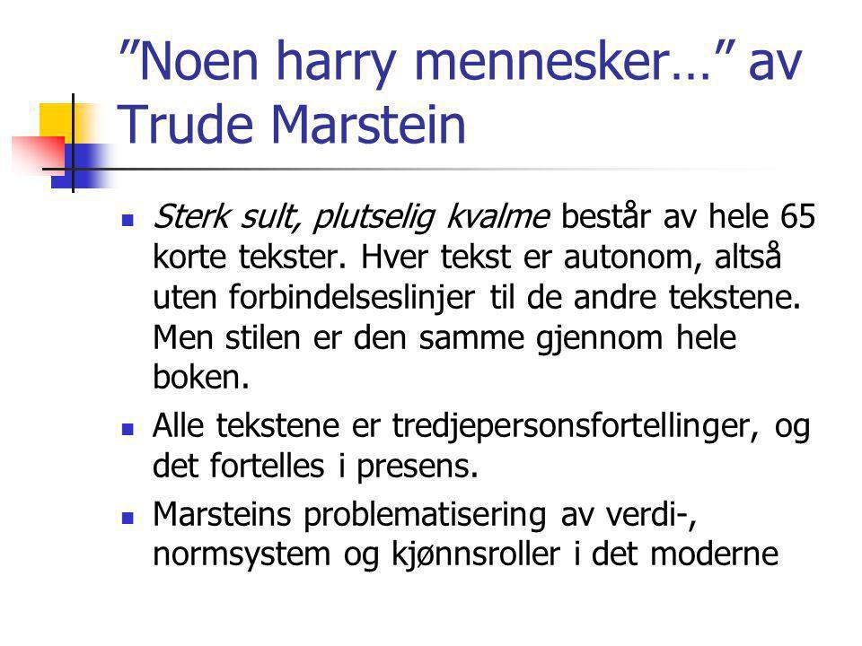 """""""Noen harry mennesker…"""" av Trude Marstein Sterk sult, plutselig kvalme består av hele 65 korte tekster. Hver tekst er autonom, altså uten forbindelses"""