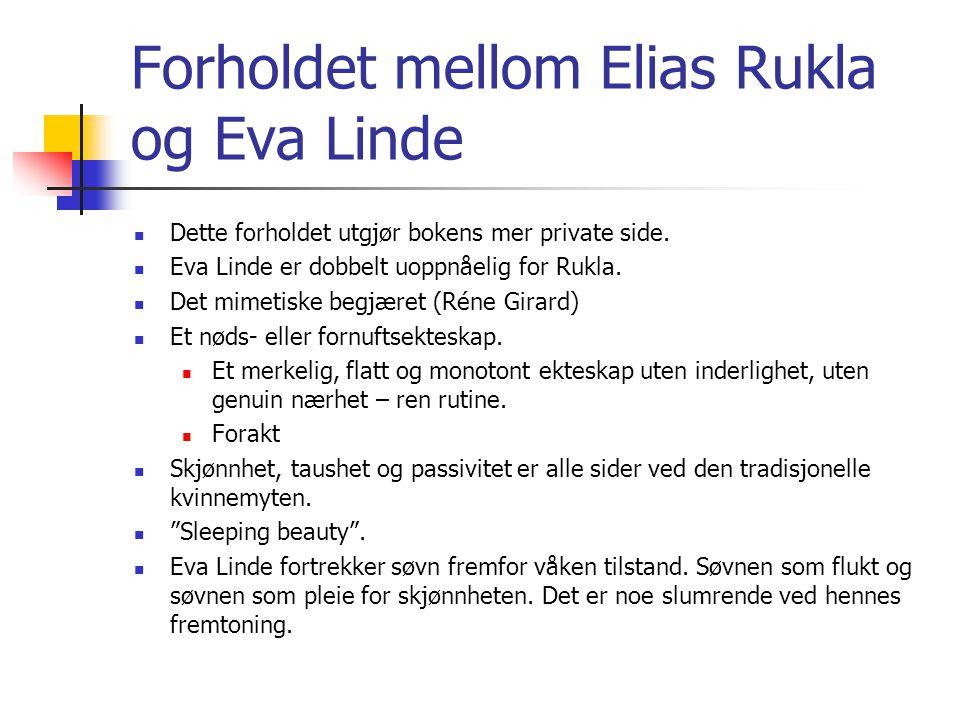 Forholdet mellom Elias Rukla og Eva Linde Dette forholdet utgjør bokens mer private side.