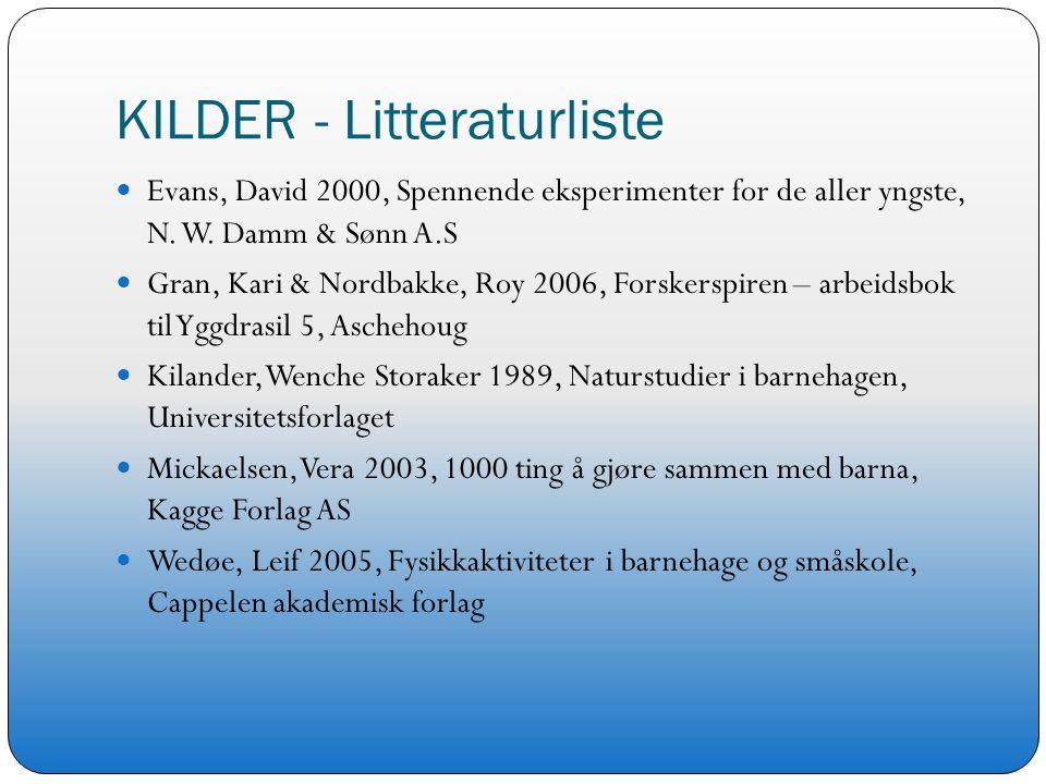 KILDER - Litteraturliste Evans, David 2000, Spennende eksperimenter for de aller yngste, N. W. Damm & Sønn A.S Gran, Kari & Nordbakke, Roy 2006, Forsk
