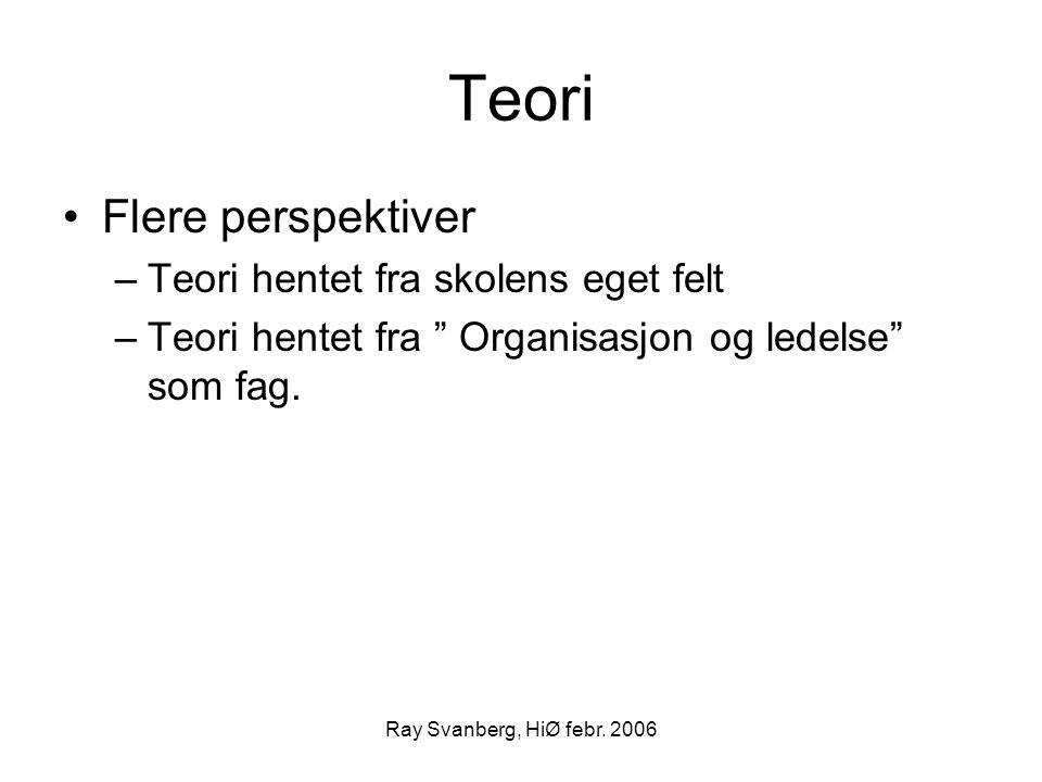 """Ray Svanberg, HiØ febr. 2006 Teori Flere perspektiver –Teori hentet fra skolens eget felt –Teori hentet fra """" Organisasjon og ledelse"""" som fag."""