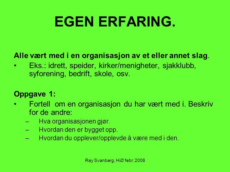 Ray Svanberg, HiØ febr. 2006 EGEN ERFARING. Alle vært med i en organisasjon av et eller annet slag. Eks.: idrett, speider, kirker/menigheter, sjakklub
