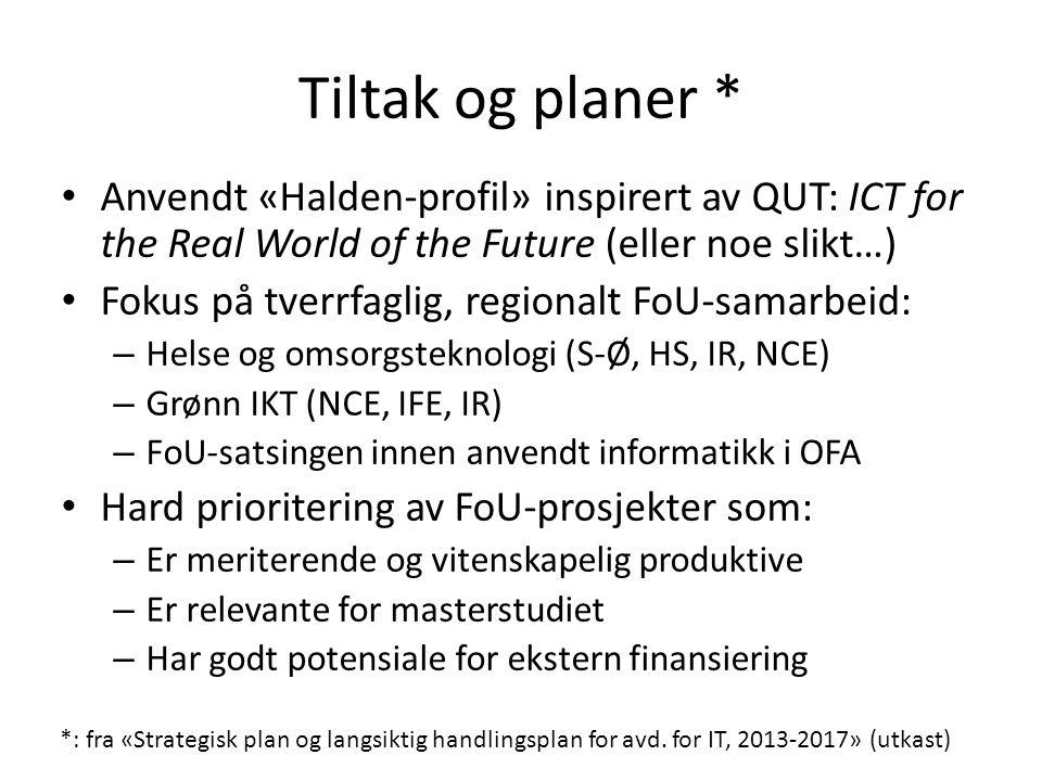 Tiltak og planer * Anvendt «Halden-profil» inspirert av QUT: ICT for the Real World of the Future (eller noe slikt…) Fokus på tverrfaglig, regionalt F