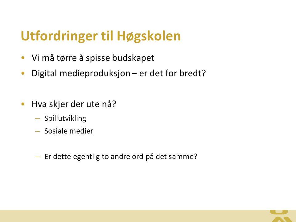 Utfordringer til Høgskolen Vi må tørre å spisse budskapet Digital medieproduksjon – er det for bredt.