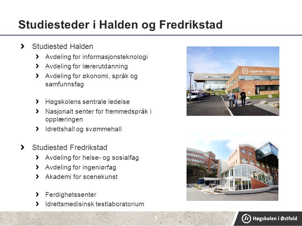 Studiesteder i Halden og Fredrikstad Studiested Halden Avdeling for informasjonsteknologi Avdeling for lærerutdanning Avdeling for økonomi, språk og s