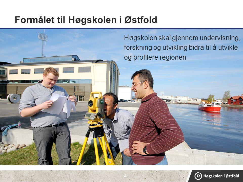 Formålet til Høgskolen i Østfold Høgskolen skal gjennom undervisning, forskning og utvikling bidra til å utvikle og profilere regionen 4