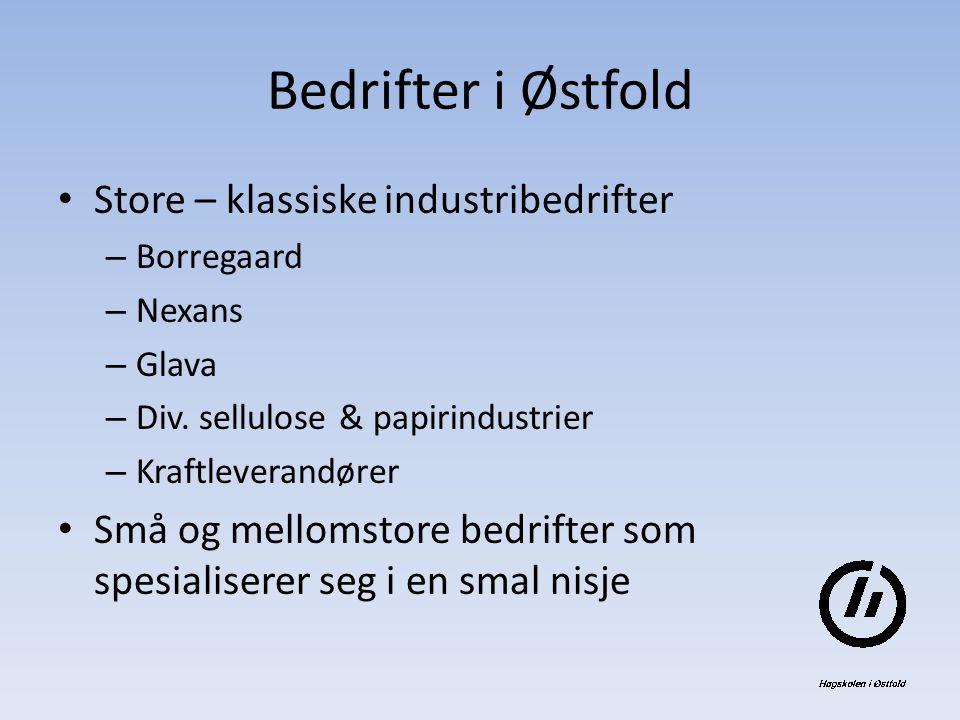 Bedrifter i Østfold Store – klassiske industribedrifter – Borregaard – Nexans – Glava – Div.