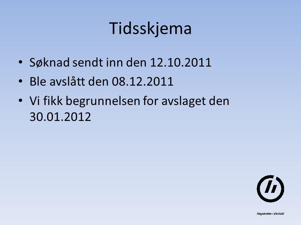 Tidsskjema Søknad sendt inn den 12.10.2011 Ble avslått den 08.12.2011 Vi fikk begrunnelsen for avslaget den 30.01.2012