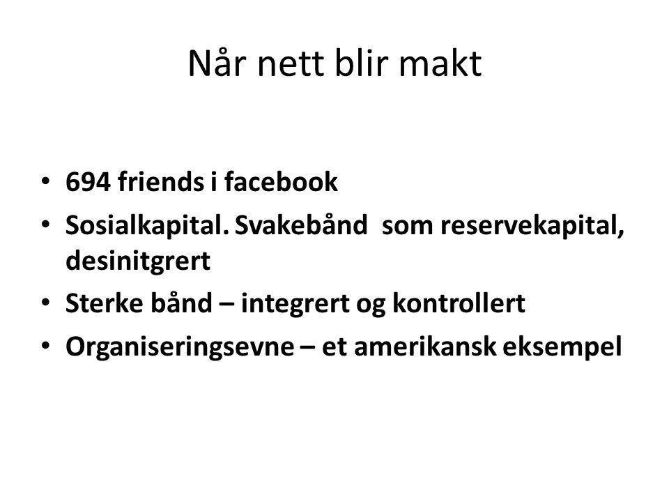 Når nett blir makt 694 friends i facebook Sosialkapital. Svakebånd som reservekapital, desinitgrert Sterke bånd – integrert og kontrollert Organiserin