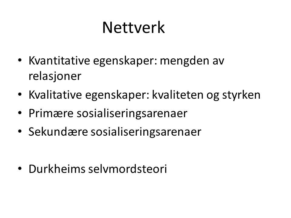 Nettverk Kvantitative egenskaper: mengden av relasjoner Kvalitative egenskaper: kvaliteten og styrken Primære sosialiseringsarenaer Sekundære sosialiseringsarenaer Durkheims selvmordsteori