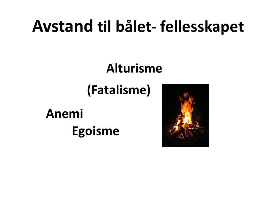 Avstand til bålet- fellesskapet Alturisme Anemi Egoisme (Fatalisme)