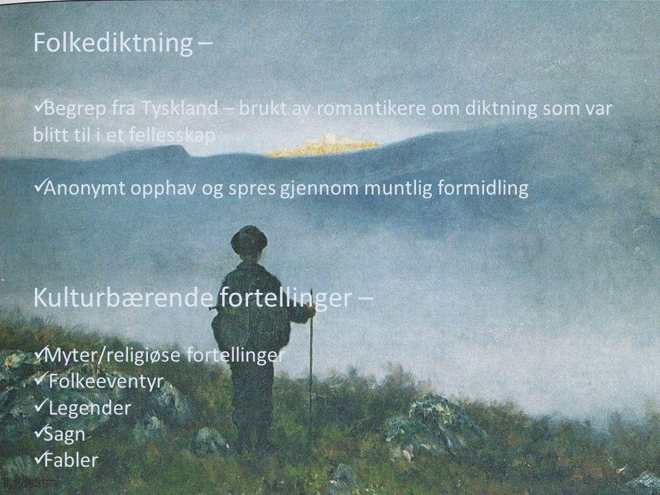 Folkediktning – Begrep fra Tyskland – brukt av romantikere om diktning som var blitt til i et fellesskap Anonymt opphav og spres gjennom muntlig formi