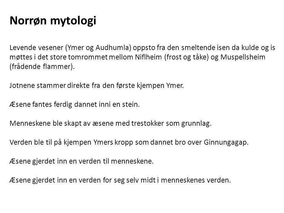 Norrøn mytologi Levende vesener (Ymer og Audhumla) oppsto fra den smeltende isen da kulde og is møttes i det store tomrommet mellom Niflheim (frost og