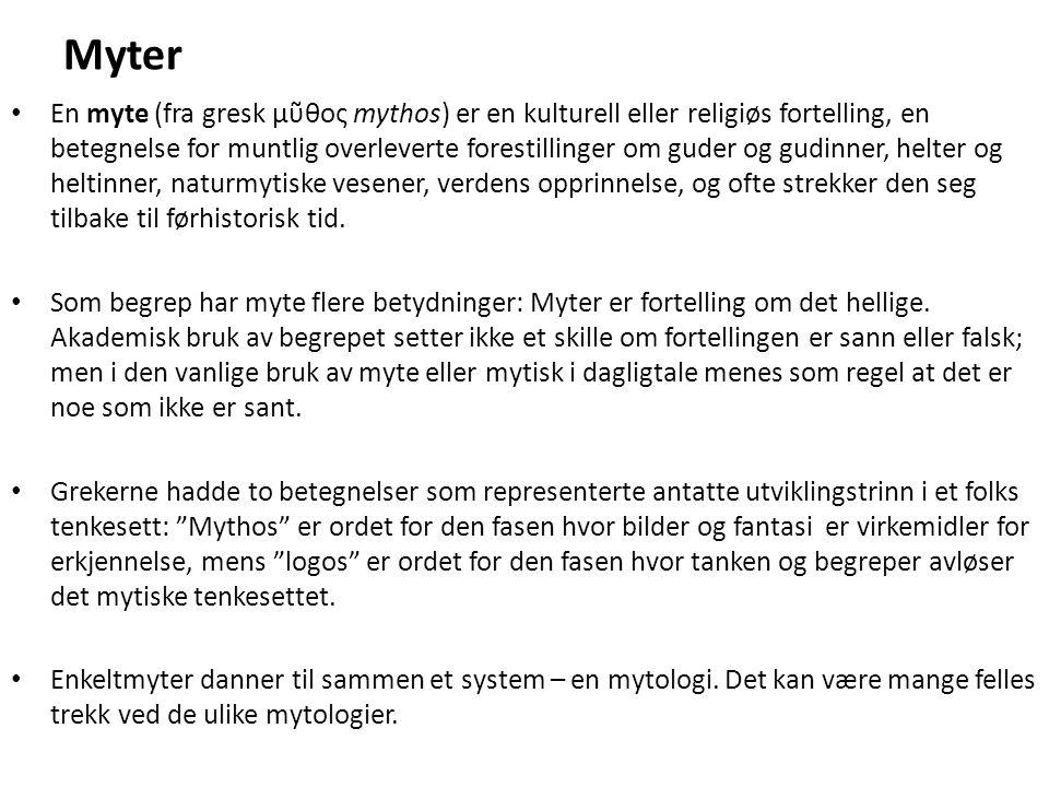 Myter En myte (fra gresk μῦθος mythos) er en kulturell eller religiøs fortelling, en betegnelse for muntlig overleverte forestillinger om guder og gud