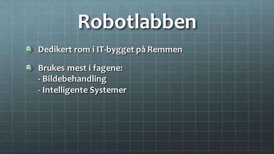 Robotlabben Dedikert rom i IT-bygget på Remmen Brukes mest i fagene: - Bildebehandling - Intelligente Systemer