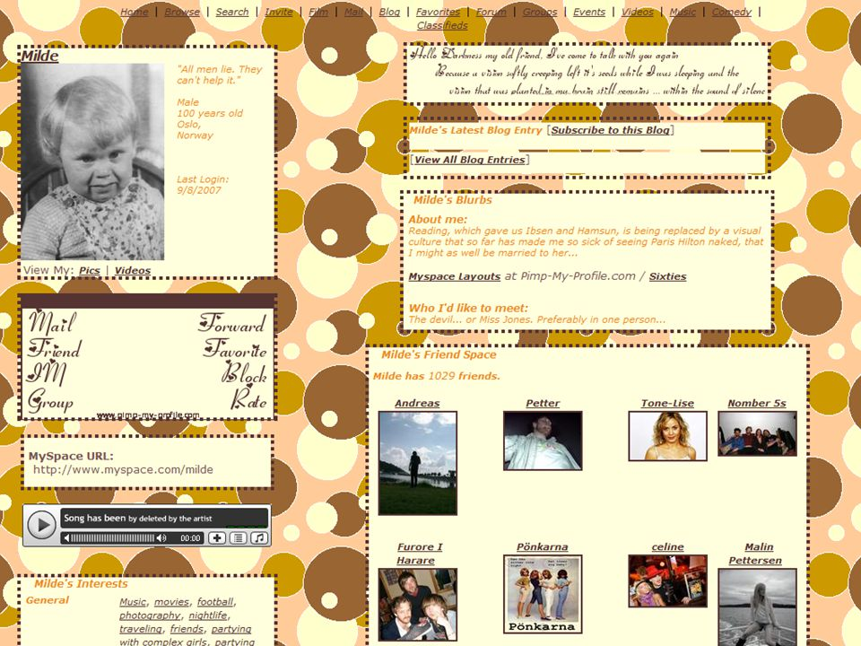 Tor Mildes MySpace-profil