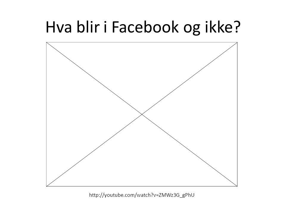 Hva blir i Facebook og ikke? http://youtube.com/watch?v=ZMWz3G_gPhU
