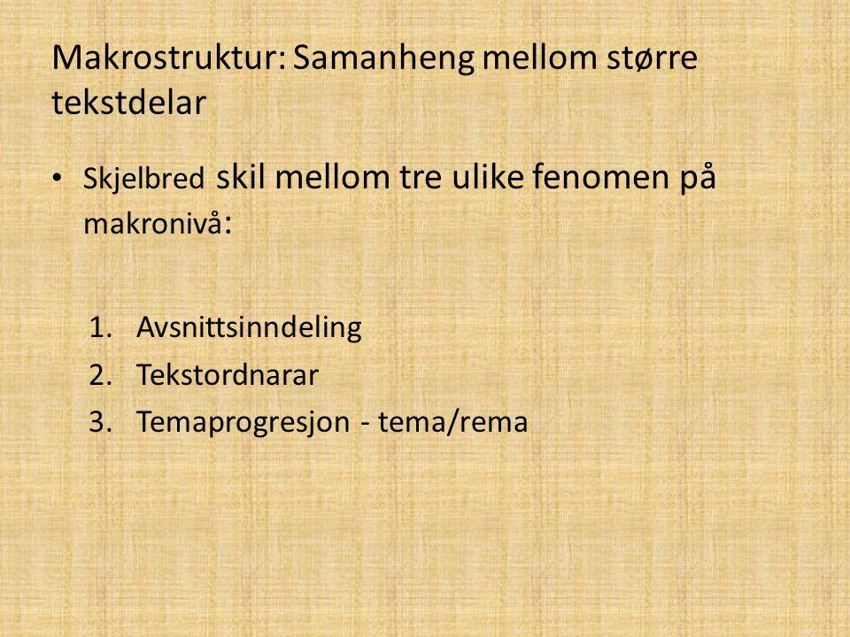 Makrostruktur: Samanheng mellom større tekstdelar Skjelbred skil mellom tre ulike fenomen på makronivå : 1.Avsnittsinndeling 2.Tekstordnarar 3.Temapro