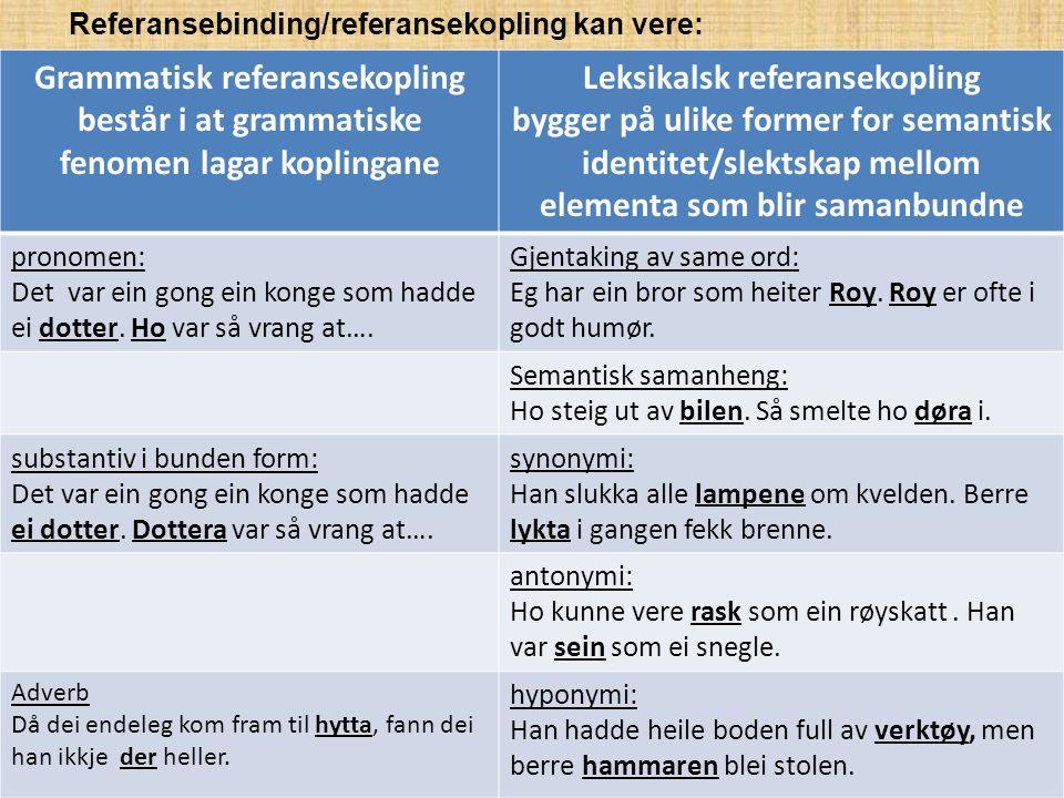 Referansebinding/referansekopling kan vere: Grammatisk referansekopling består i at grammatiske fenomen lagar koplingane Leksikalsk referansekopling b