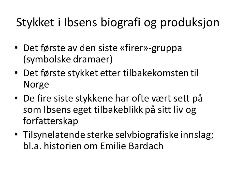 Stykket i Ibsens biografi og produksjon Det første av den siste «firer»-gruppa (symbolske dramaer) Det første stykket etter tilbakekomsten til Norge D
