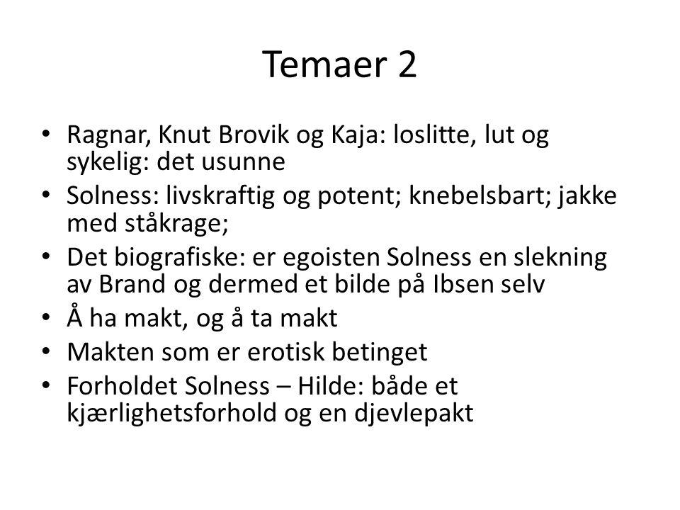 Temaer 2 Ragnar, Knut Brovik og Kaja: loslitte, lut og sykelig: det usunne Solness: livskraftig og potent; knebelsbart; jakke med ståkrage; Det biogra