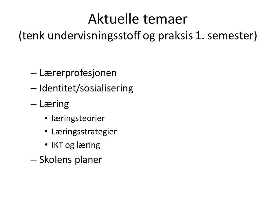 Aktuelle temaer (tenk undervisningsstoff og praksis 1. semester) – Lærerprofesjonen – Identitet/sosialisering – Læring læringsteorier Læringsstrategie