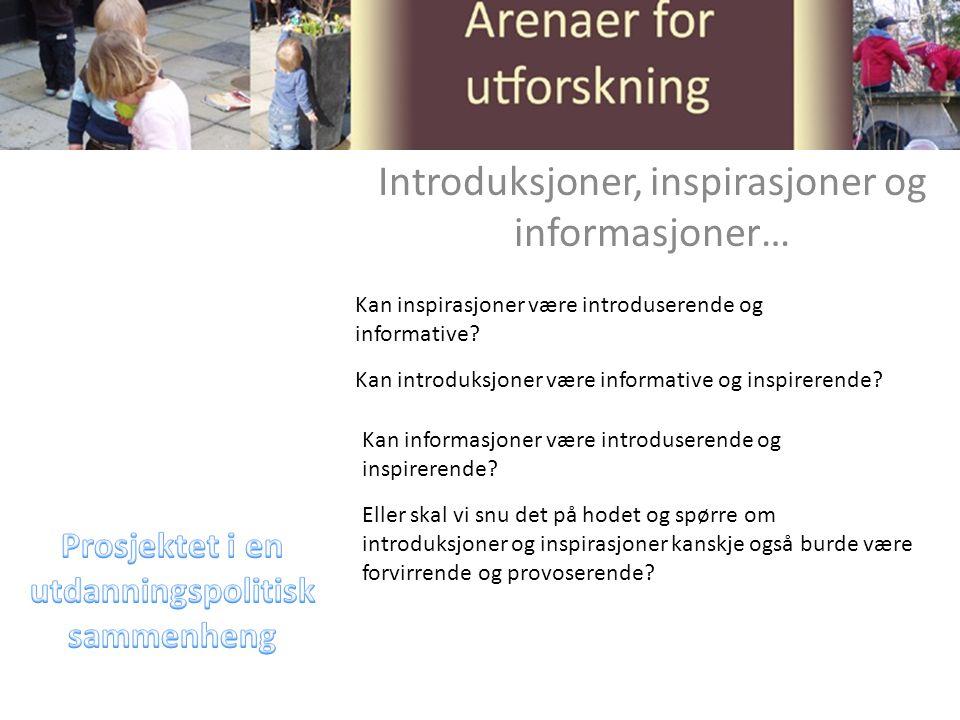 Introduksjoner, inspirasjoner og informasjoner… Kan introduksjoner være informative og inspirerende.