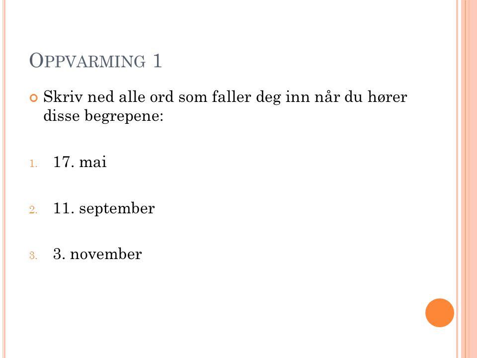 O PPVARMING 1 Skriv ned alle ord som faller deg inn når du hører disse begrepene: 1. 17. mai 2. 11. september 3. 3. november
