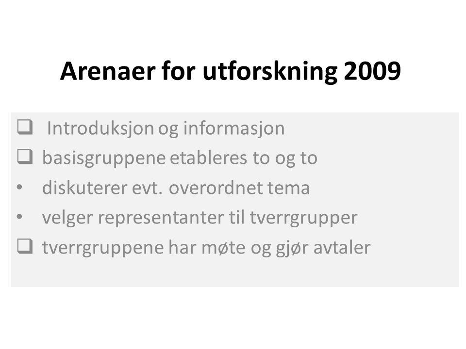 Arenaer for utforskning 2009  Introduksjon og informasjon  basisgruppene etableres to og to diskuterer evt. overordnet tema velger representanter ti