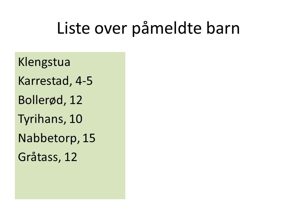 Liste over påmeldte barn Klengstua Karrestad, 4-5 Bollerød, 12 Tyrihans, 10 Nabbetorp, 15 Gråtass, 12