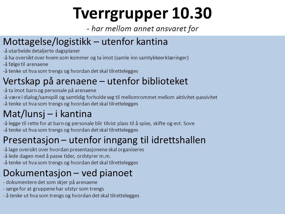 Tverrgrupper 10.30 - har mellom annet ansvaret for Mottagelse/logistikk – utenfor kantina -å utarbeide detaljerte dagsplaner -å ha oversikt over hvem