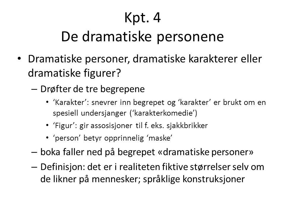 Kpt. 4 De dramatiske personene Dramatiske personer, dramatiske karakterer eller dramatiske figurer? – Drøfter de tre begrepene 'Karakter': snevrer inn